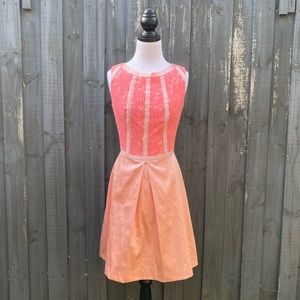 Review Coral Pink Sleeveless Lace Satin Dress AU8
